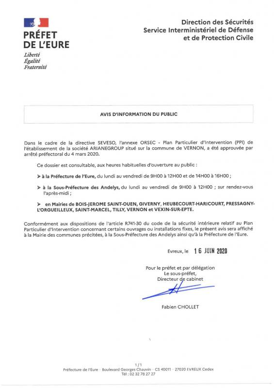 Prefecture de l eure avis information du public dossier consultable par le public